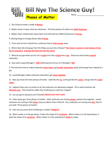 Printables Bill Nye Worksheets bill nye phases of matter video worksheet by mmingels teaching resources tes