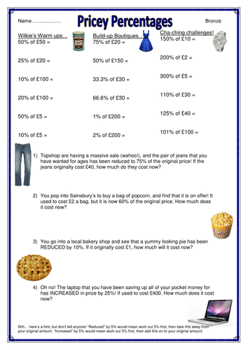 Shopping-themed percentages of amounts worksheets by CaptainLoui ...