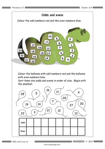 Odds and Evens (5 worksheets) by Mathsright - Teaching Resources - TES