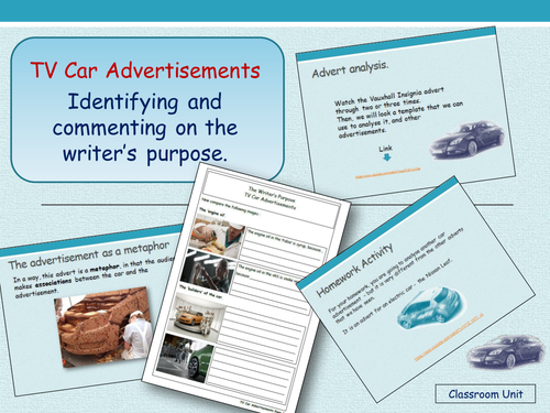 The Writer's Purpose - Car Advertisements (Years 7 and 8)