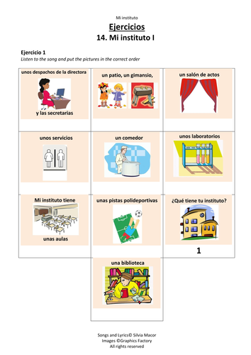 Mi instituto (Part1) - (Song listing a variety of school facilities)