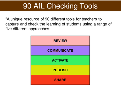 Assessment for Learning - AfL Checking Tool - REVIEW