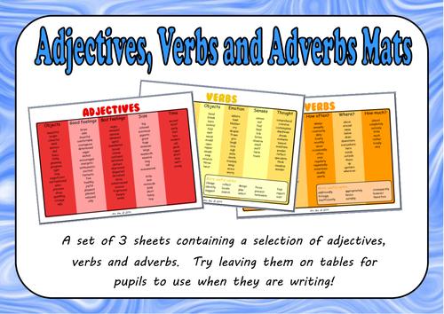 Adjectives, Verbs and Adverbs Mats