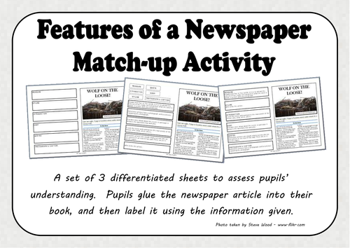 Features of a Newspaper Match-up Activity by mrs-bee