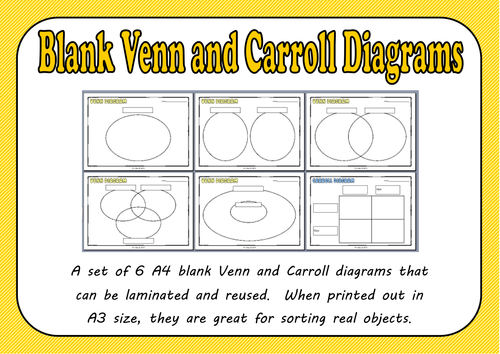 Blank Venn And Carroll Diagrams Pack By Mrs Bee Teaching Resources