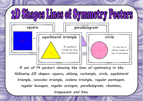 2d shape lines of symmetry posters by mrs bee teaching resources tes