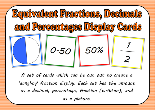 Equivalent Fractions, Decimals and Percentages Display Cards