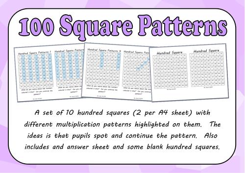 100 Square Pattern Spotting Activity
