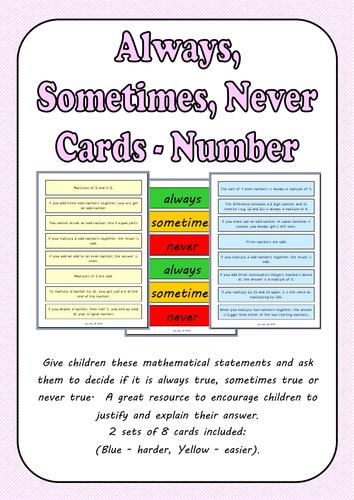 Always, Sometimes, Never Cards - Number