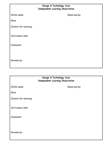 Year One Design and Technology Area - Continuous Provision Planning and Resources