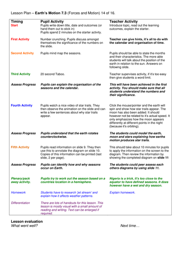 Year 7: Earth's Motion (Forces & Motion 7.3)