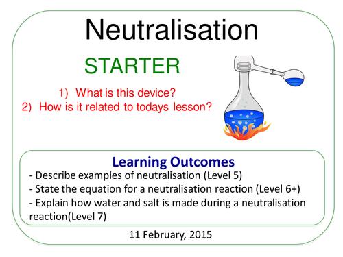 Year 7: Neutralisation (Understanding Chemical Changes 7.4)