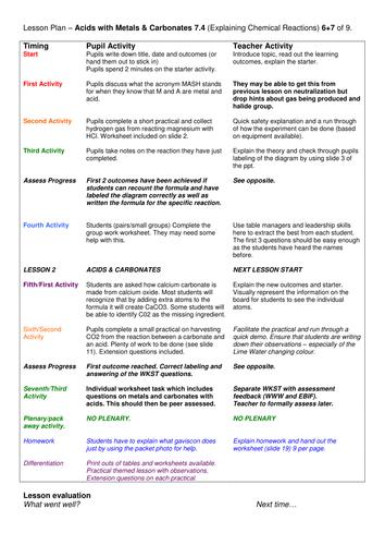 Year 7: Acids, Metals & Carbonates (Understanding Chemical Changes 7.4)