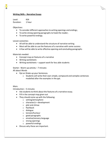 Writing Skills - Narrative Essays (Openings and Endings)