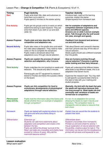 Year 7: Change & Competition (Plants & Ecosystems 7.6)