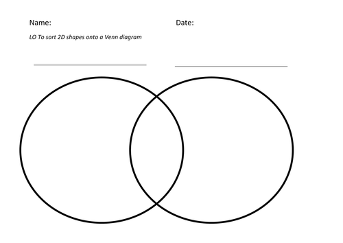 Use a Venn diagram to sort 2D shapes by markedout Teaching – Venn Diagram Worksheet