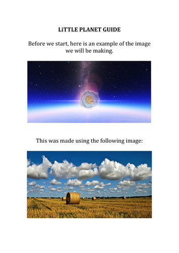 Little Planet- create your own world using photo editing software (Image Manipulation)