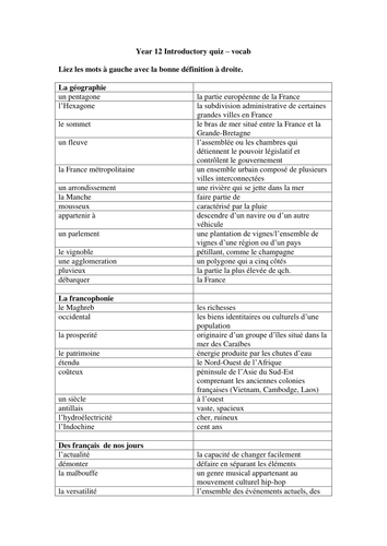 Sixth-form introductory quiz