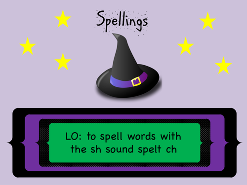 Year 3 and 4 Spellings (SPaG): Words with the sh sound spelt ch