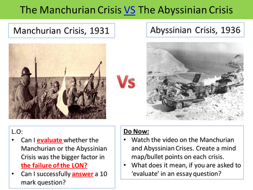 League of Nations and the crisis in Abyssinia and Manchuria