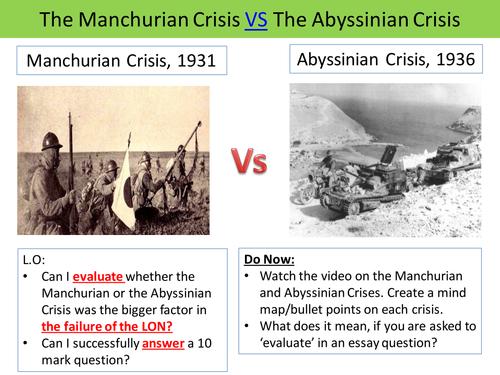 Abyssinian and Manchurian Crisis: 10 Mark Prep (AQA Spec B)