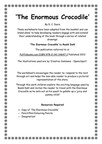 The Enormous Crocodile Roald Dahl Response Booklet By Crigdon