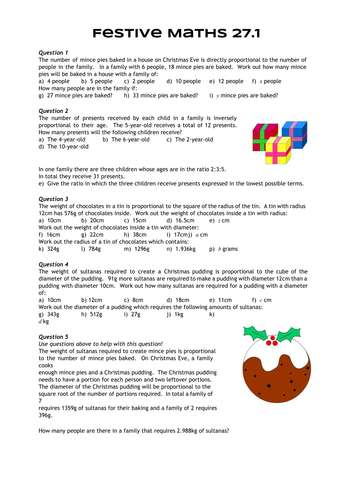 Festive Maths Pack 27