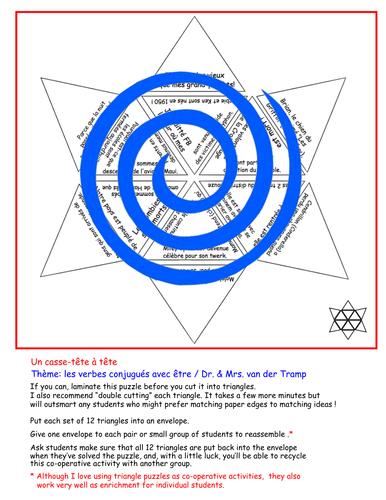 Les Verbes Conjugues Avec Etre A Triangle Puzzle Teaching Resources