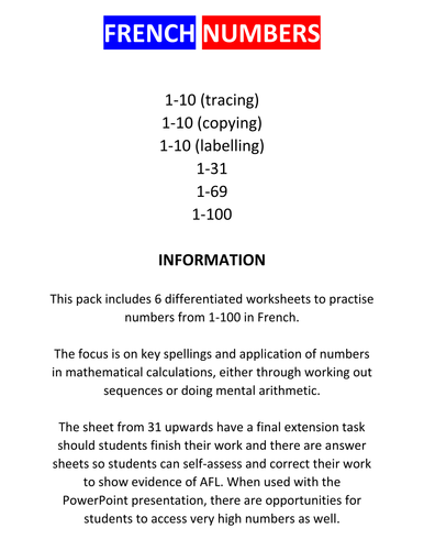 french numbers worksheets i by darbonator teaching resources. Black Bedroom Furniture Sets. Home Design Ideas