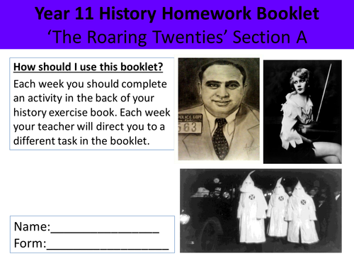 Homework Booklet - The Roaring Twenties