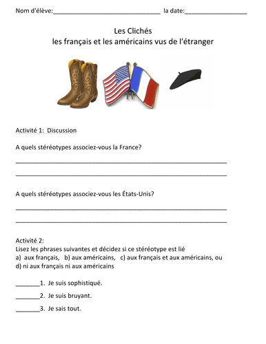 French & American Stereotypes Lesson