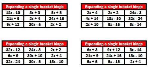 Expanding brackets bingo
