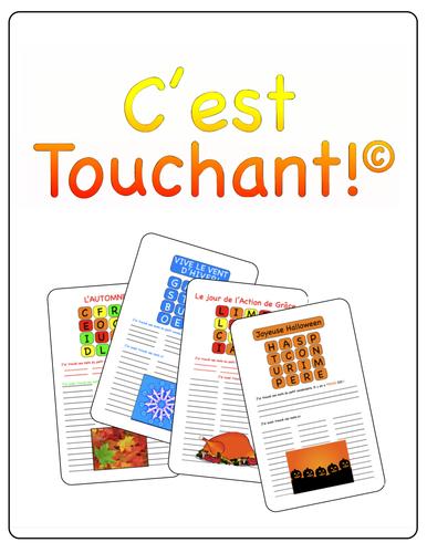 C'est Touchant! (un jeu comme Boggle)  pour L'Automne, L'Action de Grâce, L'Halloween et L'Hiver