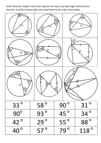 Circle Theorems Angles In Same Segment Are Equal By Sbinning