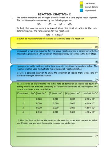Chemistry: Reaction Kinetics Worksheets