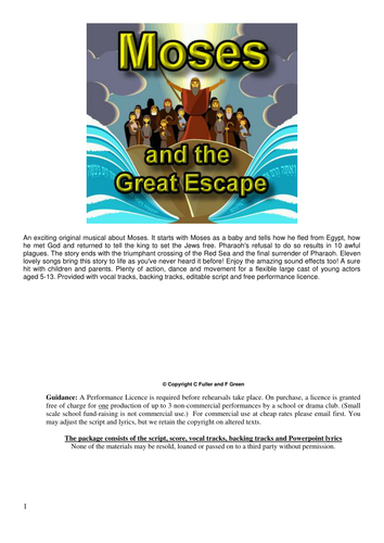 Moses and the Great Escape from Egypt (Musical Play for Schools 50 min)