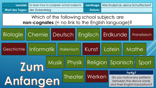 Discussing and comparing school subjects (German)
