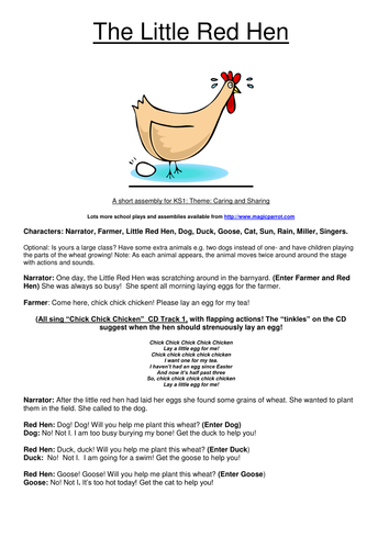 The Little Red Hen (Musical Assembly for Reception/KS1)