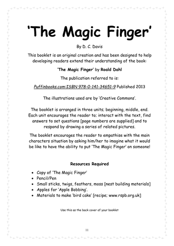 The Magic-Finger Roald Dahl - Response Booklet by crigdon ...