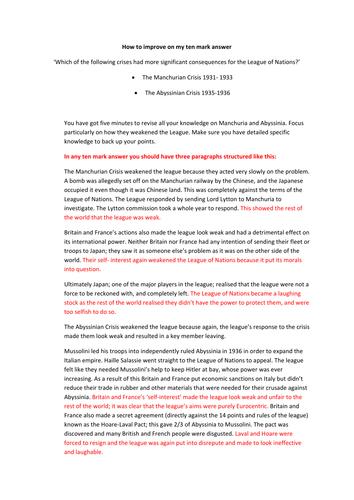 Manchuria & Abyssinia 10 Mark Answer Writing Scaffold