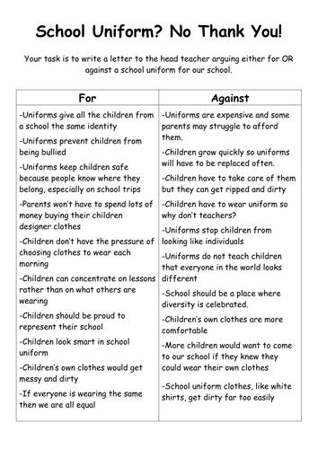 An Argumentative Essay On School Uniforms
