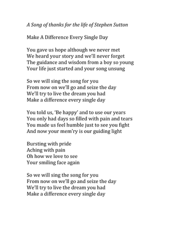 Make A Difference Every Single Day - A Song For Stephen Sutton