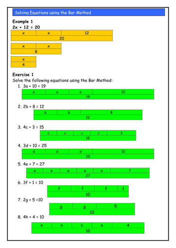 Solving Linear Equations using the Bar Method