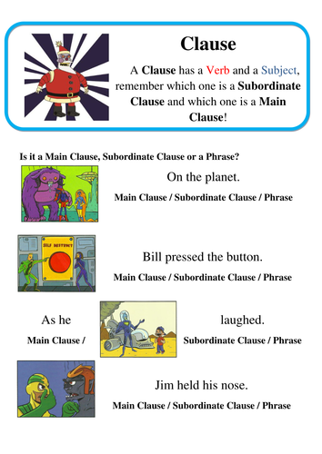 Super Grammar Clauses Main And Subordinate Clauses Spag By