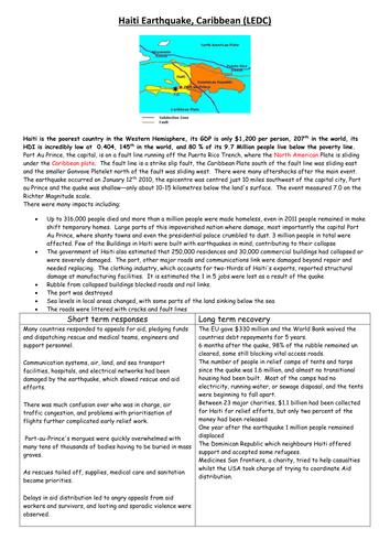 AQA Case Studies Geography Marked by Teachers
