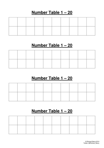 Numeracy 1 to 20 Number Table