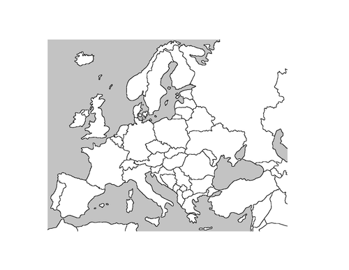 Blank Map Of Europe By Katieluke Teaching Resources Tes - Europe blank map