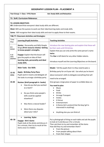 Party Planning in PSHE- Personality and Learning Styles Lesson