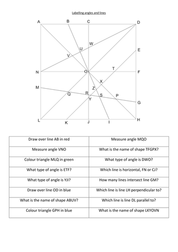 Lines and angles naming and vocabulary activity