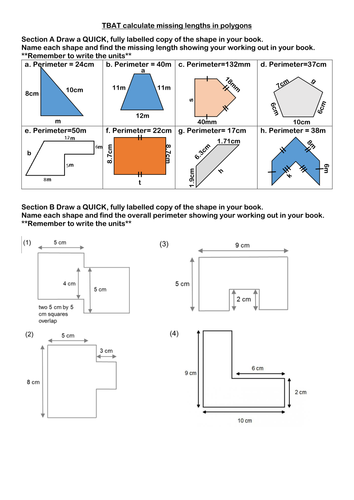 Calculating Perimeter With Missing Lengths 11002663 on Area Of Composite Figures Worksheet
